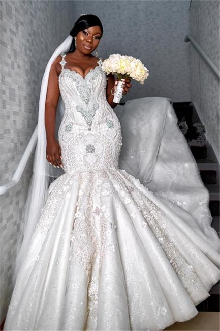 Luxury Spaghetti Strap V Neck Lace Crystal Fit And Falre Mermaid Wedding Dress