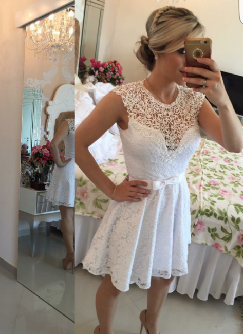 Lace Beaded Capped Sleeves White Short Homecoming Dresses