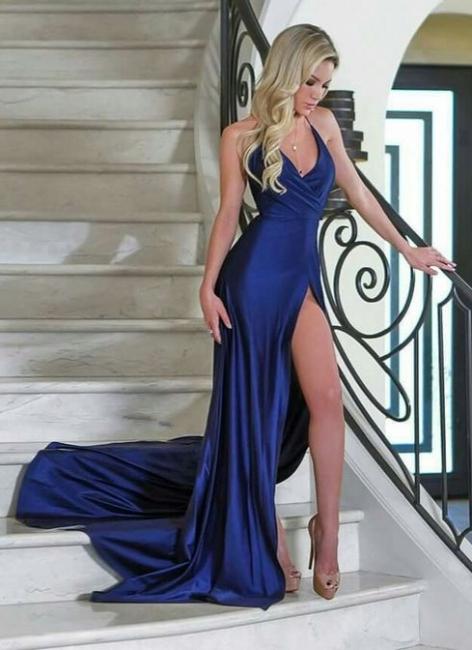 Sexy Blue High Slit Evening Gowns | Halter V-Neck Formal Dresses