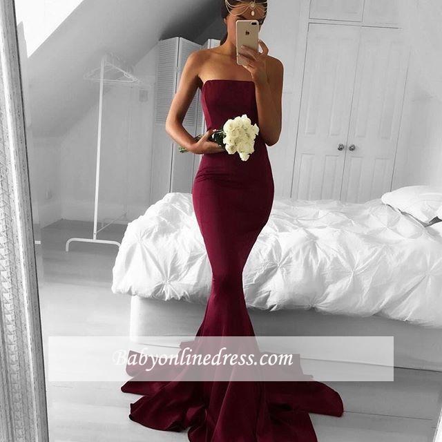 Strapless Mermaid Modern Sweep-Train Burgundy Sleeveless Prom Dress