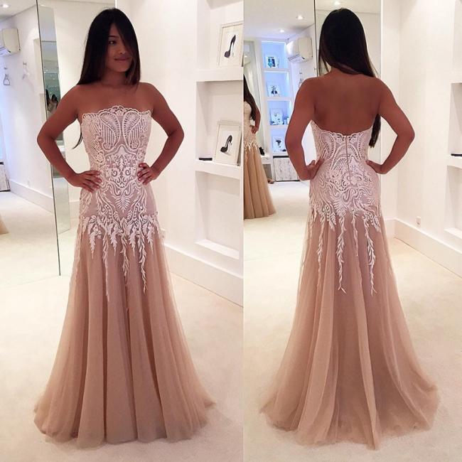 A-line Newest Lace Sleeveless Strapless Zipper Prom Dress