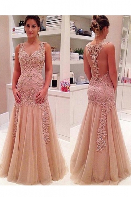 Mermaid Tulle Appliques Prom Dress Floor Length Evening Gowns