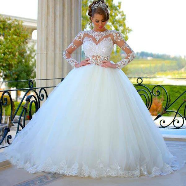 Long Sleeves Ball Gown Wedding Dresses Sheer Lace Puffy Princess Bridal Gowns