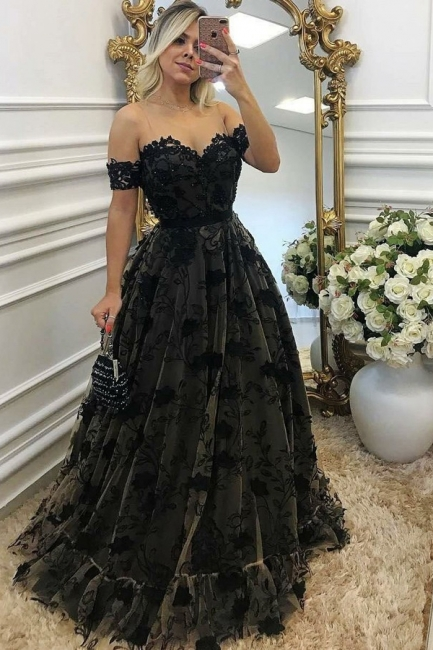 Black Off-the-shoulder Prom Dresses | Sexy A-line Evening Gown With Aplliques