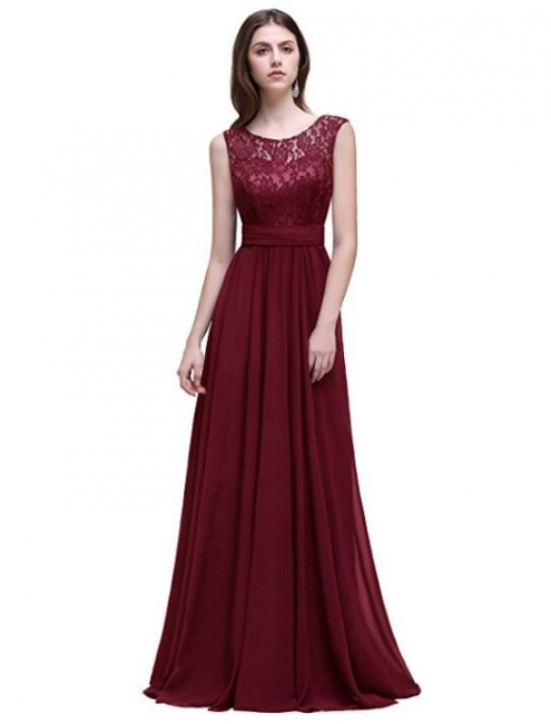 Sleeveless Lace Chiffon Long Evening Gowns Bridesmaid Dress