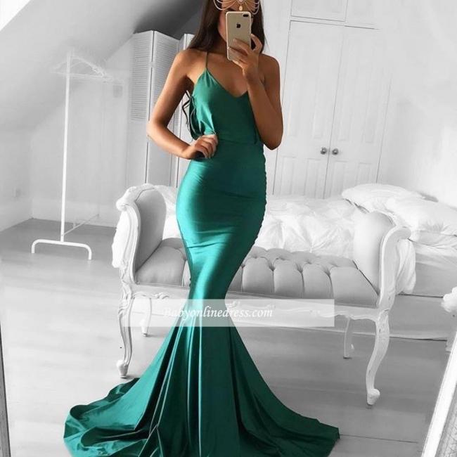 Sweep-Train Green Spaghetti-strap Sleeveless Mermaid Modest Prom Dress