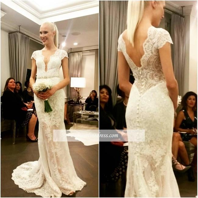 Designer Lace Button Glamorous Floor-Length Cap-Sleeve Wedding Dresses
