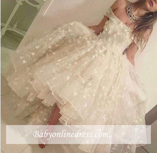 Romantic Off-the-shoulder Hi-Lo Prom Dresses 2018 3D-Floral-Appliques Evening Gowns