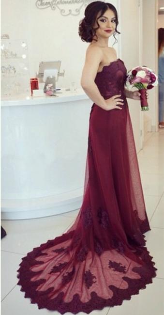 Lace Open-Back Appliques Elegant Strapless Cheap Court-Train Burgundy Prom Dress