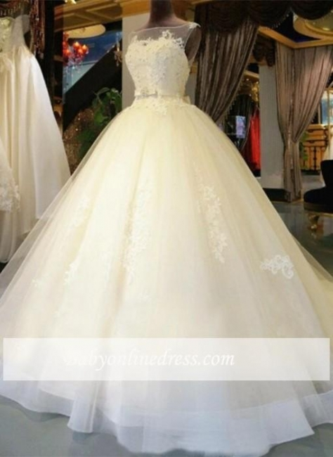 Amazing Lace-Appliques Sleeveless Bridal Gowns Ball-Gown Sash Wedding Dresses