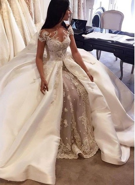 Modern Mermaid Wedding Dresses | Short Sleeves Beading Ball Gown Bridal Gowns