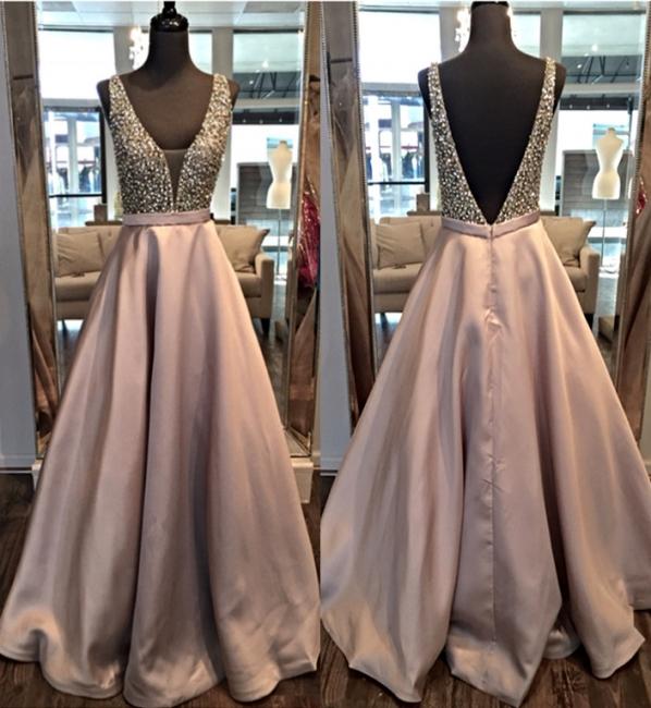 A-line Deep V-neck Prom Dresses Floor Length Crystal Evening Gowns