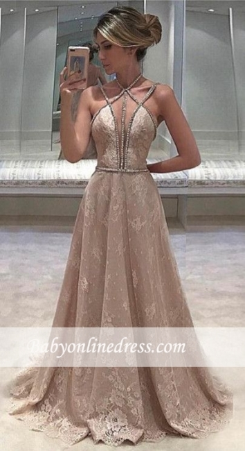 Lace Sexy Long Beaded Straps Sleeveless Open-Back Evening Dress 2018