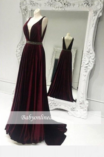 Sexy V-neck Burgundy Prom Dress 2018 Zipper A-line Sleeveless Sweep-Train Evening Gowns