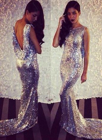 Silver Sequins Mermaid Prom Dresses | Shiny Dropped Back Evening Gowns