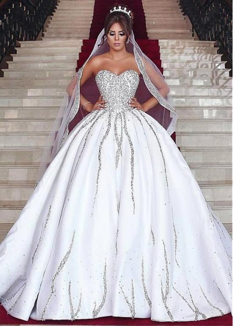 Brilliant Ball Gown Wedding Dresses Sweetheart Sleeveless Beading Bridal Gowns