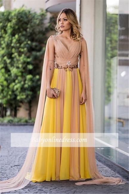 A-line Newest V-Neck Ruffles Sleeveless Prom Dress