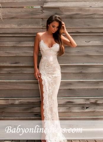 Lace Sheath Side-Slit Sweetheart Straps Spaghettis Elegant Evening Gowns