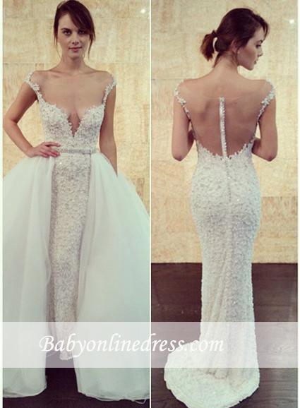Glamorous Pearls Tulle Cap-Sleeve Detachable Long Wedding Dress with Beadings