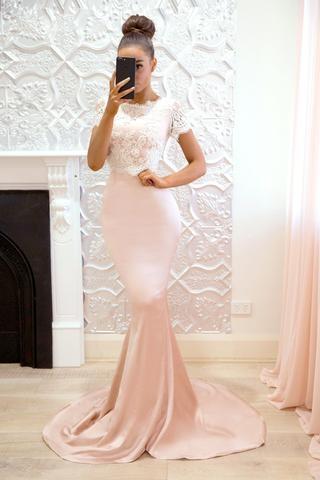 Pink Short Sleeves Bridesmaid Dresses | Lace Mermaid Maid of the Honor Dress