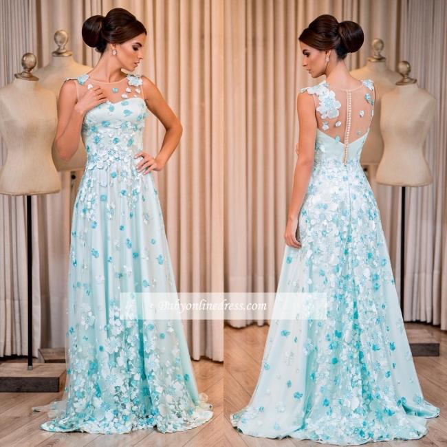 Glamorous Sleeveless Floor-Length Buttons A-line Prom Dress