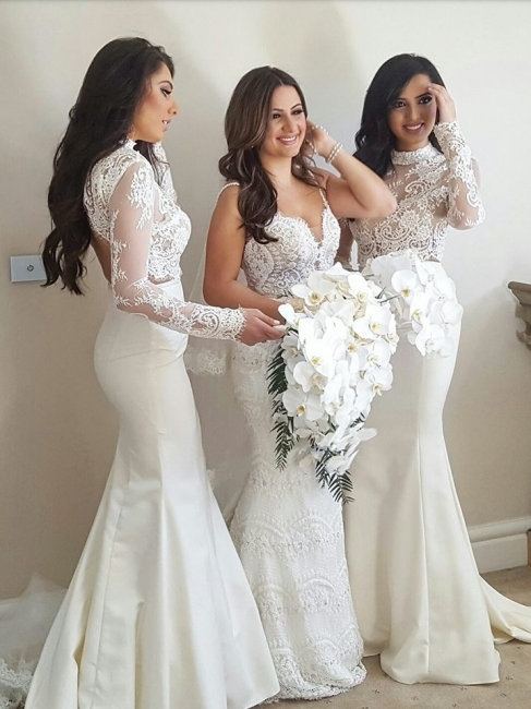 Lace Two-Piece Cheap High-Neck Mermaid Long-Sleeve Bridesmaid Dress