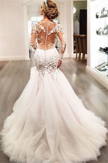 Mermaid Wedding Dresses with Long Sleeves   Lace Beaded Sheer Back Bridal Gowns
