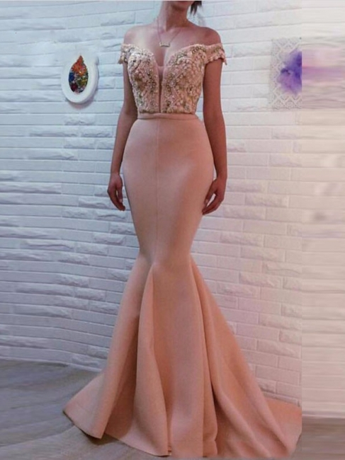 Glamorous Off-The-Shoulder Pearls Pink Mermaid Prom Dresses