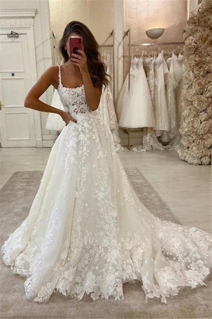 Sexy Spaghetti Strap Lace A Line Wedding Dresses | Ruffles Bridal Gown