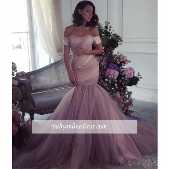 Lalic Off-The-Shoulder Tulle Elegant Ruffles Mermaid Evening Dress 2018