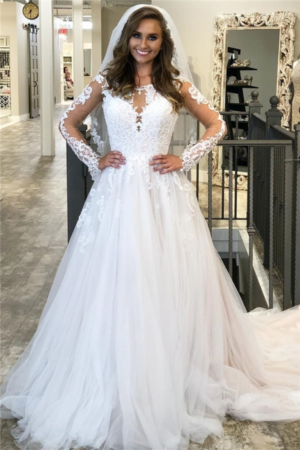 A-line Lace Wedding Dresses with Sleeves | Sheer Vintage Bridal Gowns