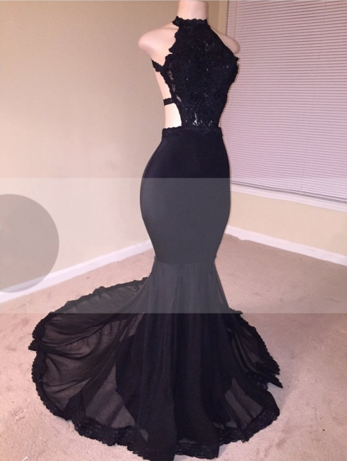 Chic Black Mermaid Prom Dresses | Open Back Lace Evening Gowns
