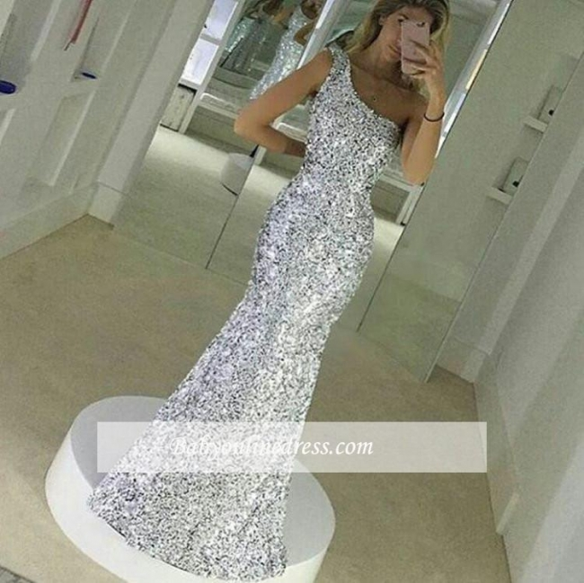 Popular Simple One Shoulder Floor Lenth Sequined Mermaid Prom Dress BA4616