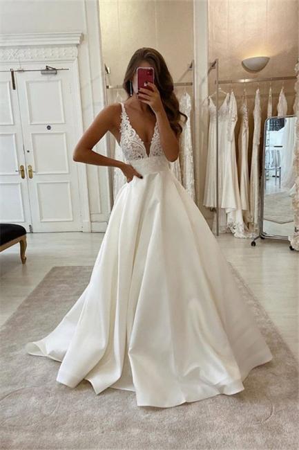 Strpas Pluning V Neck Applique A Line Wedding Dresses | Floor Length Wedding Gown
