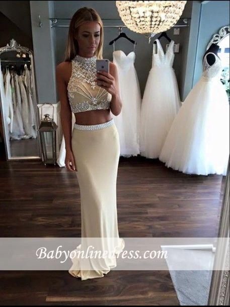 Sheath High-Neck Two-Piece Evening Gowns 2018 Sleeveless Crystal Prom Dress