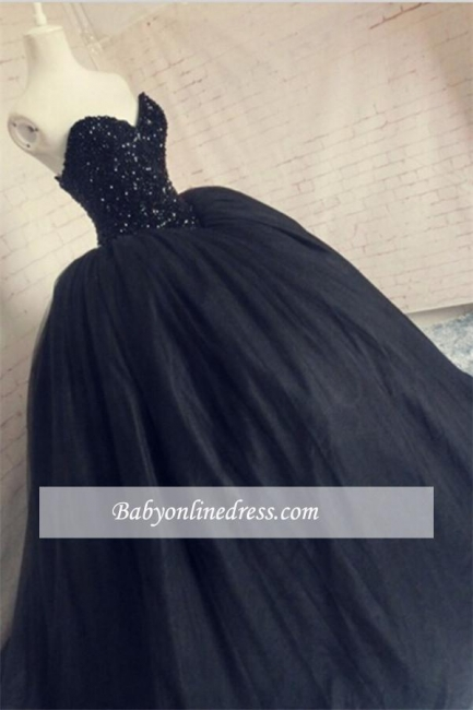 Amazing Beaded Sequins Black Sparkly Puffy Corset Tulle Sweetheart Prom Dress