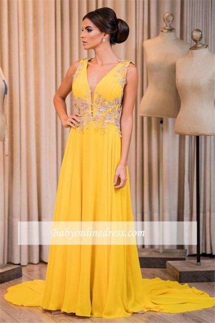 Appliques Elegant Chiffon V-Neck Sleeveless Prom Dress