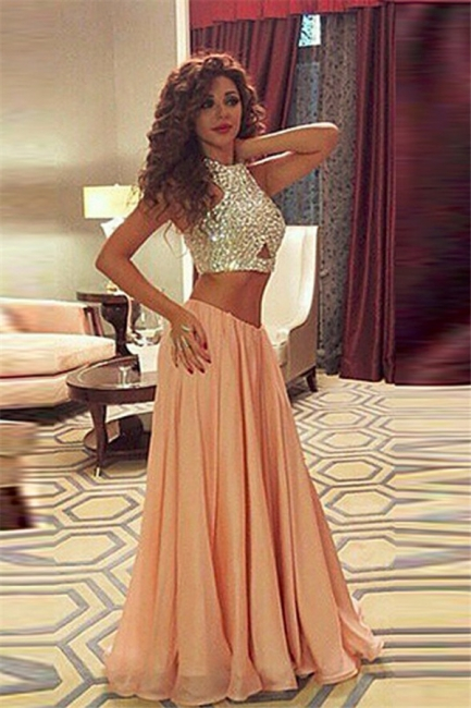 Sexy Two Pieces Crystal Prom Dresses Chiffon Floor Length Party Gowns
