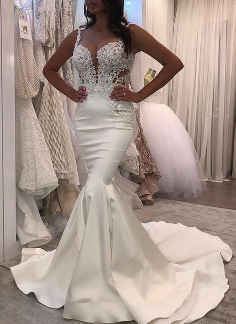 Sexy Straps Mermaid Wedding Dresses | Sleeveless Lace Appliques Bridal Gowns