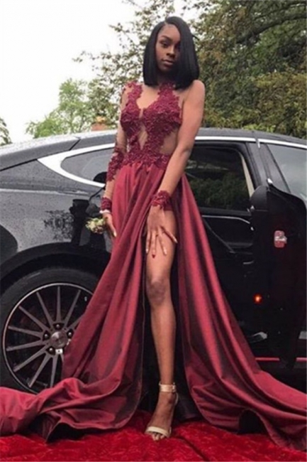 Sexy Burgundy Sheer Prom Dresses Long Sleeves Side Slit Evening Gowns LY099