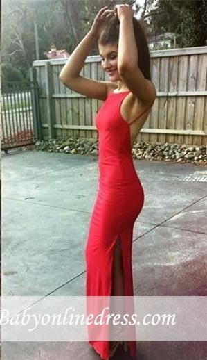 2018 Red Spaghetti-Strap Prom Dress Split Sleeveless Floor-length Evening Gowns