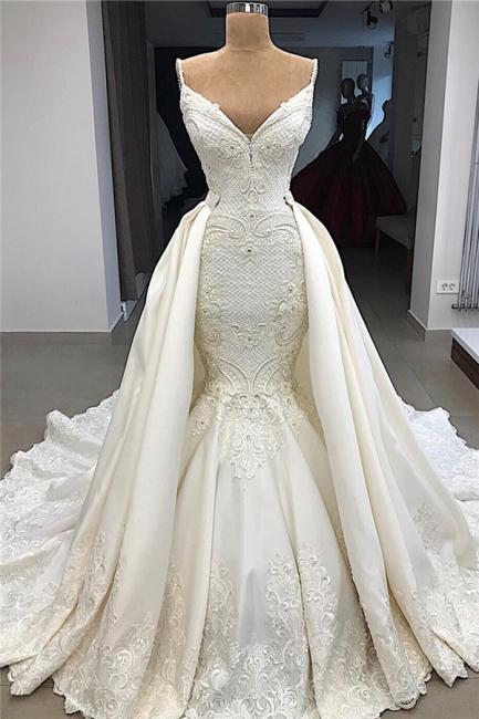 Spaghetti Straps V-neck Modern Mermaid 2 in 1 Convertible Wedding Dresses