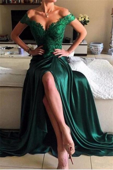 Elegant Dark Green Lace Open-Back Prom Dress | Off-the-shoulder Evening Dress