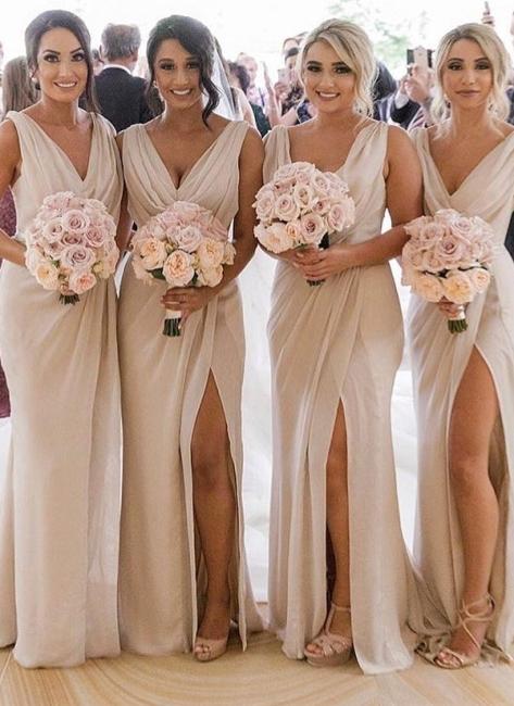 Simple Chiffon Long V-Neck Sleeveless Side-Slit  Bridesmaid Dresses
