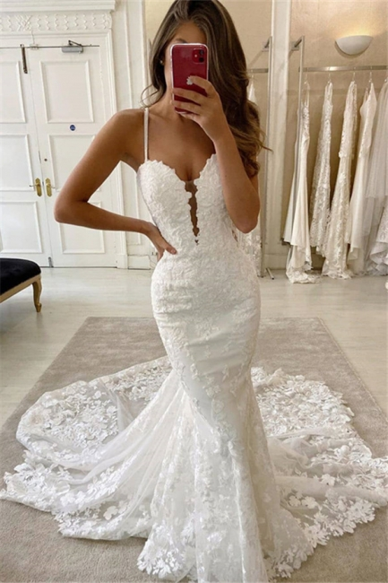Simple Style Spaghetti Strap V Neck Lace Mermaid Wedding Dresses
