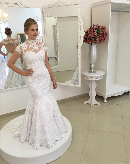 Mermaid Zipper Newest Lace Pearls High-Neck Appliques White Wedding Dress