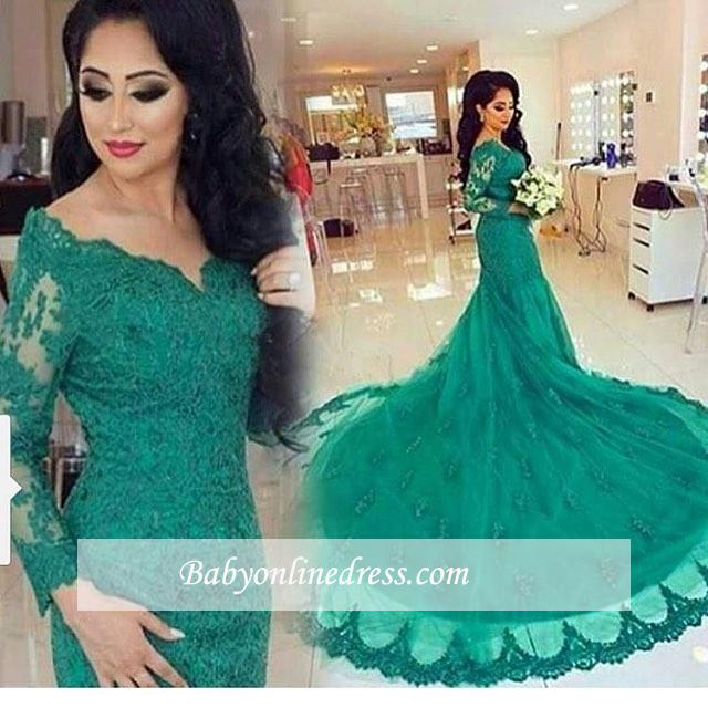 New Arrival Green Lace Tulle Long-Train Appliques Mermaid Long-Sleeves Evening Dresses