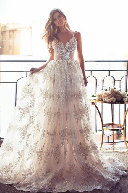 Spaghettis-Straps Backless Lace Sweetheart-Neck A-line Elegant Wedding Dresses