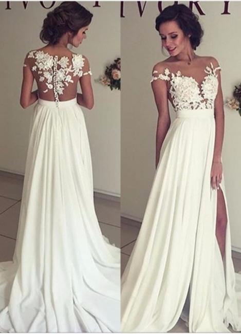 Summer Chiffon  Lace Top Short Sleeves Side Slit Wedding Dresses