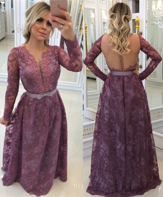 Glamorous A-Line Buttons Long-Sleeves Lace Evening Dresses